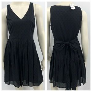 J.Crew Sz 6 Black Sheer Pleated Fit & Flare Dress